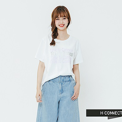 H:CONNECT 韓國品牌 女裝-休閒印字圓領T-shirt-白
