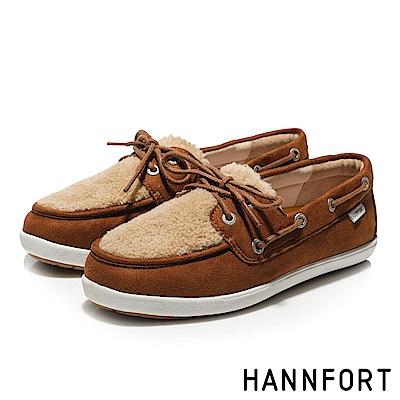 HANNFORT CALIFORNIA暖心毛毛帆船鞋-女-暖咖啡