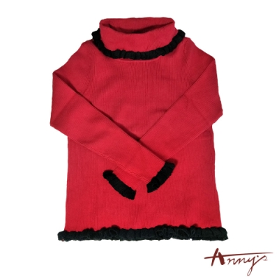 Annys可愛淘氣高領荷葉邊針織舒適保暖長袖上衣*7290紅