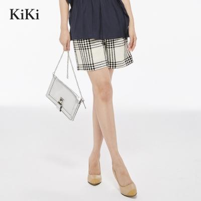新降【KiKi】經典格紋百搭-短褲(白色)