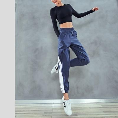 2F韓衣-簡約側邊撞色拼接鬆緊腰造型收口褲-3色-(L-XL)