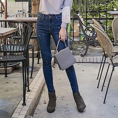 浪漫約會系列~褲腳不規則剪裁牛仔彈力窄管褲-OB大尺碼