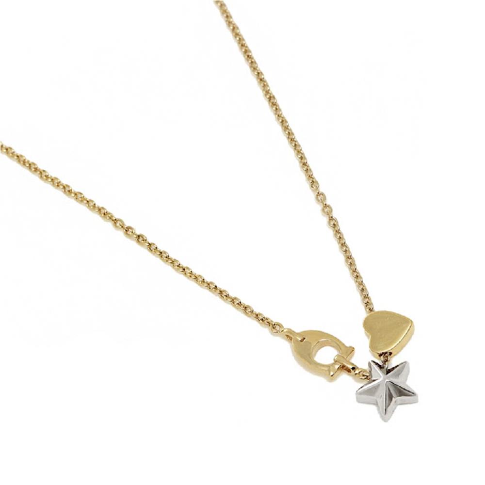 時尚質感銀色星星金色愛心造型項鍊COACH