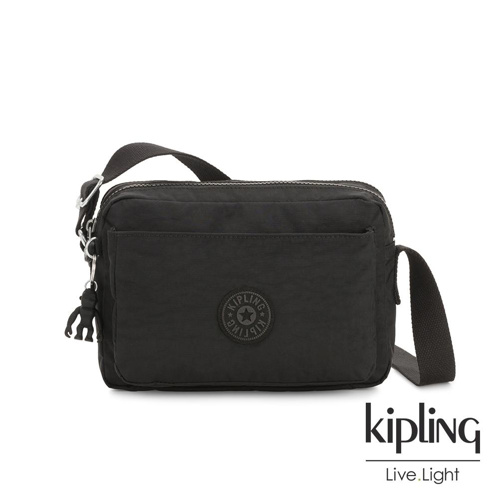 Kipling 曜岩黑品牌經典圓標多層隨身斜背包-ABANU M