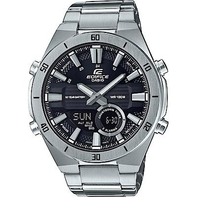 EDIFICE 時尚3D立體金屬時刻設計雙顯腕錶(ERA-110D-1)黑面/47.6