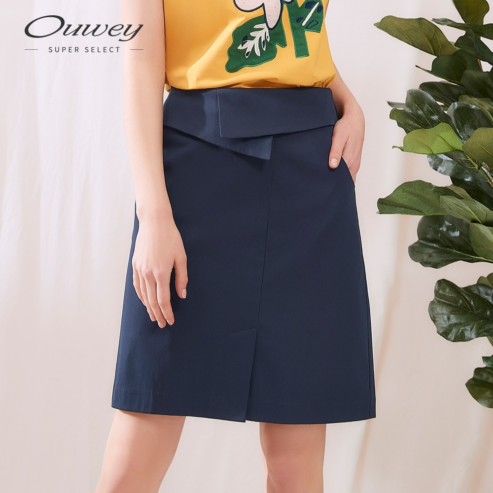 OUWEY歐薇 百搭裙頭造型修身A字短裙(藍)