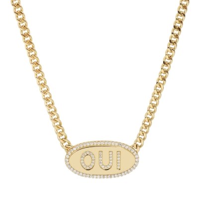 apm MONACO法國精品珠寶 閃耀金色OUI鑲鋯項鍊