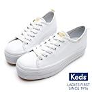 Keds TRIPLE UP 小心機厚底皮革綁帶休閒鞋-白