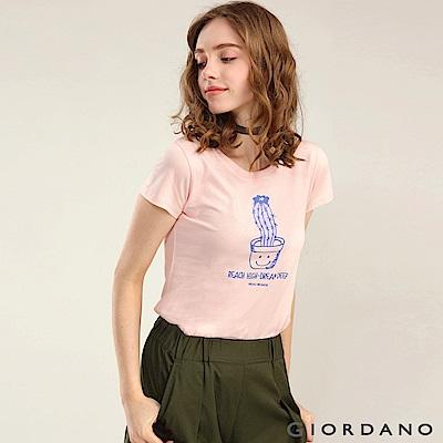 GIORDANO 女裝可愛植物印花短袖T恤-63 薄紗粉紅