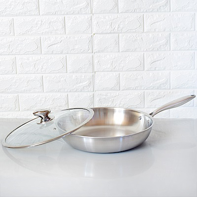 頂尖廚師 頂級白晶316不鏽鋼深型平底鍋32公分 (贈不鏽鋼鏟)