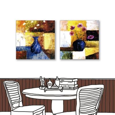 24mama掛畫-二聯式 藝術抽象 花卉 油畫風無框畫 50X50cm-夏日的奔放