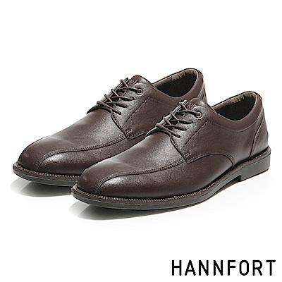 HANNFORT PERPETUAL真皮動能氣墊德比鞋-松茸咖