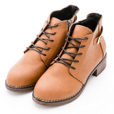 River&Moon復古扣環造型綁帶側拉鍊短靴-棕