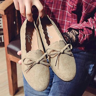 韓國KW美鞋館 獨賣款氣質性感平底鞋-卡其色