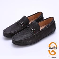 Amber 金屬馬蹄釦臘感牛皮樂福休閒鞋-深咖