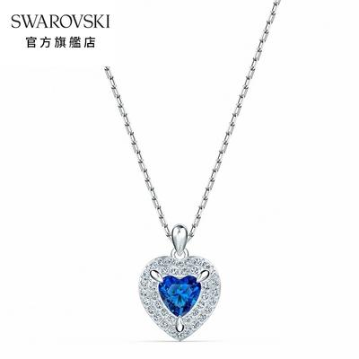 SWAROVSKI125週年系列施華洛世奇 One 白金色藍水晶愛心鏈墜