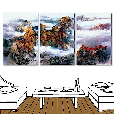 橙品油畫布 三聯式直幅掛畫無框畫-棕山40x60c