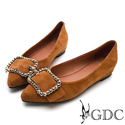 GDC-真皮尖頭復古水鑽方扣平底包鞋-棕色