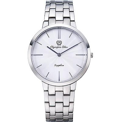 OlympiaStar 奧林比亞之星 時尚水波紋腕錶-白/40mm  58060MS