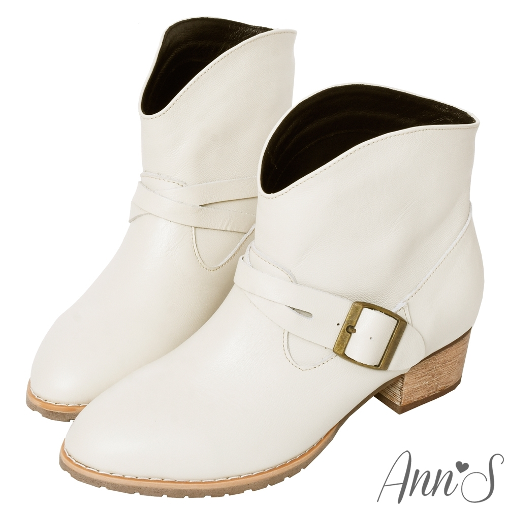 Ann'S美式風格-古銅釦V口顯瘦牛皮全真皮粗跟西部短靴4cm-米白(版型偏小)
