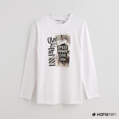Hang Ten - 男裝 - 時尚圖樣印花棉質圓領上衣 - 白