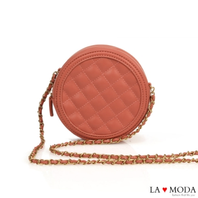 La Moda 時尚可愛小香風菱格紋肩背斜背鍊帶小圓包(粉)