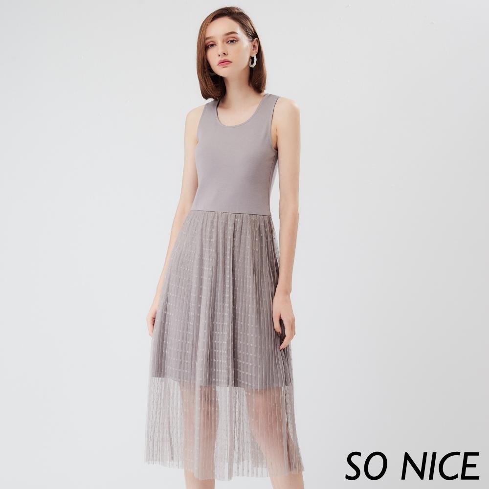 SO NICE優雅波點網紗拼接洋裝