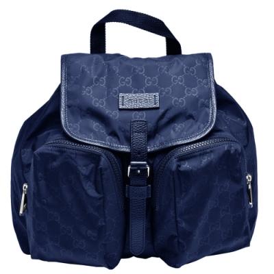 GUCCI 經典GG印花尼龍布雙口袋磁釦束口手提/後背包(藍)