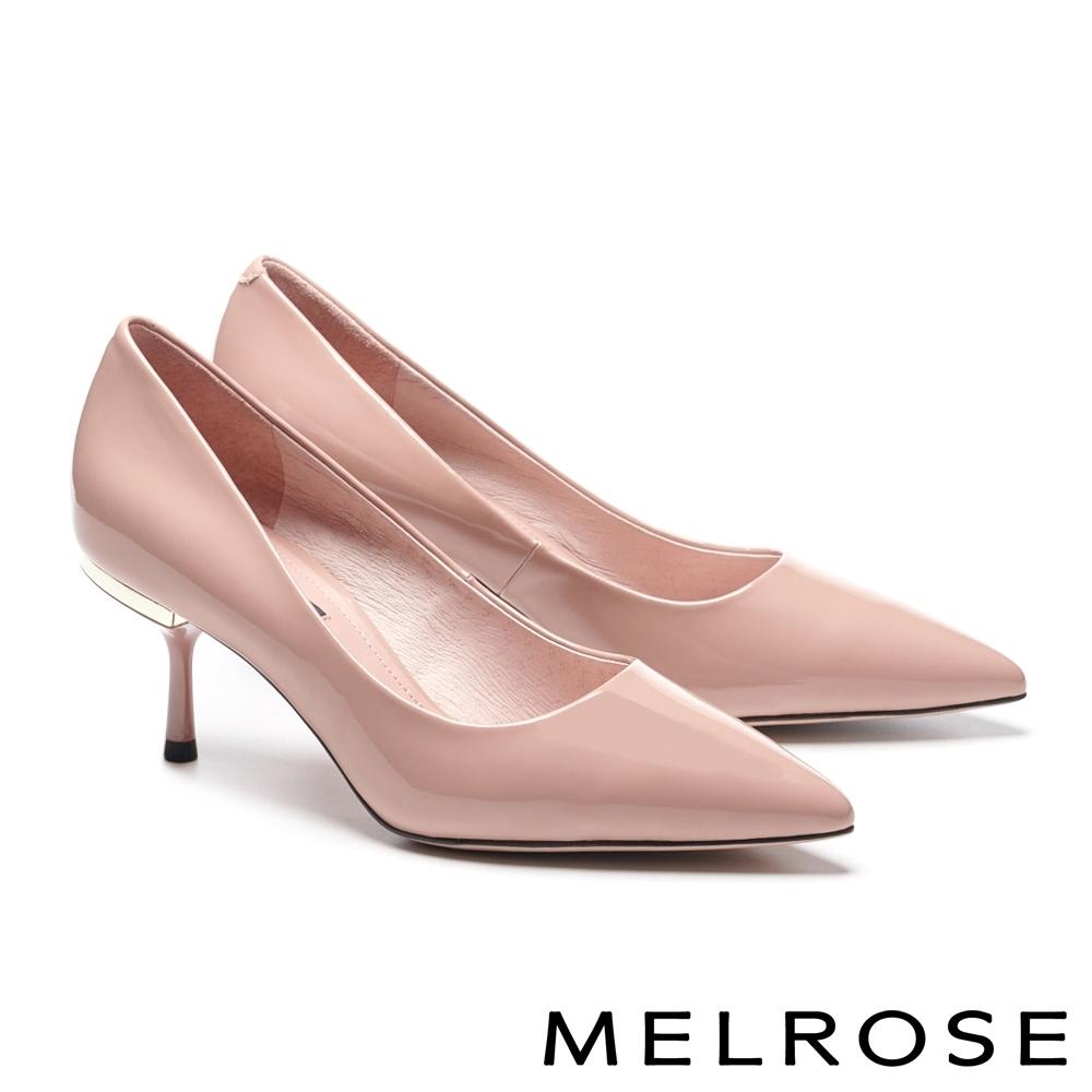 高跟鞋 MELROSE 極簡知性光澤感軟漆皮尖頭高跟鞋-粉
