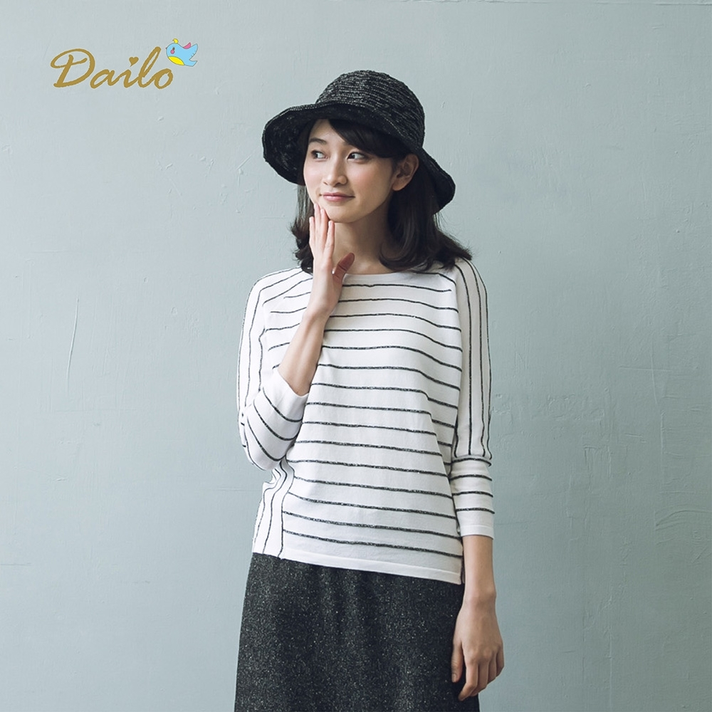 【Dailo】七分袖條紋針織上衣(三色)