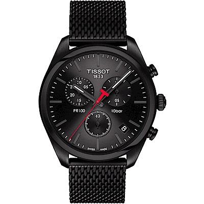 TISSOT天梭 PR100米蘭時尚三眼計時錶-黑/41mm