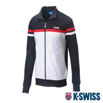 K-SWISS Mock Neck Jacket運動外套-男-黑/白