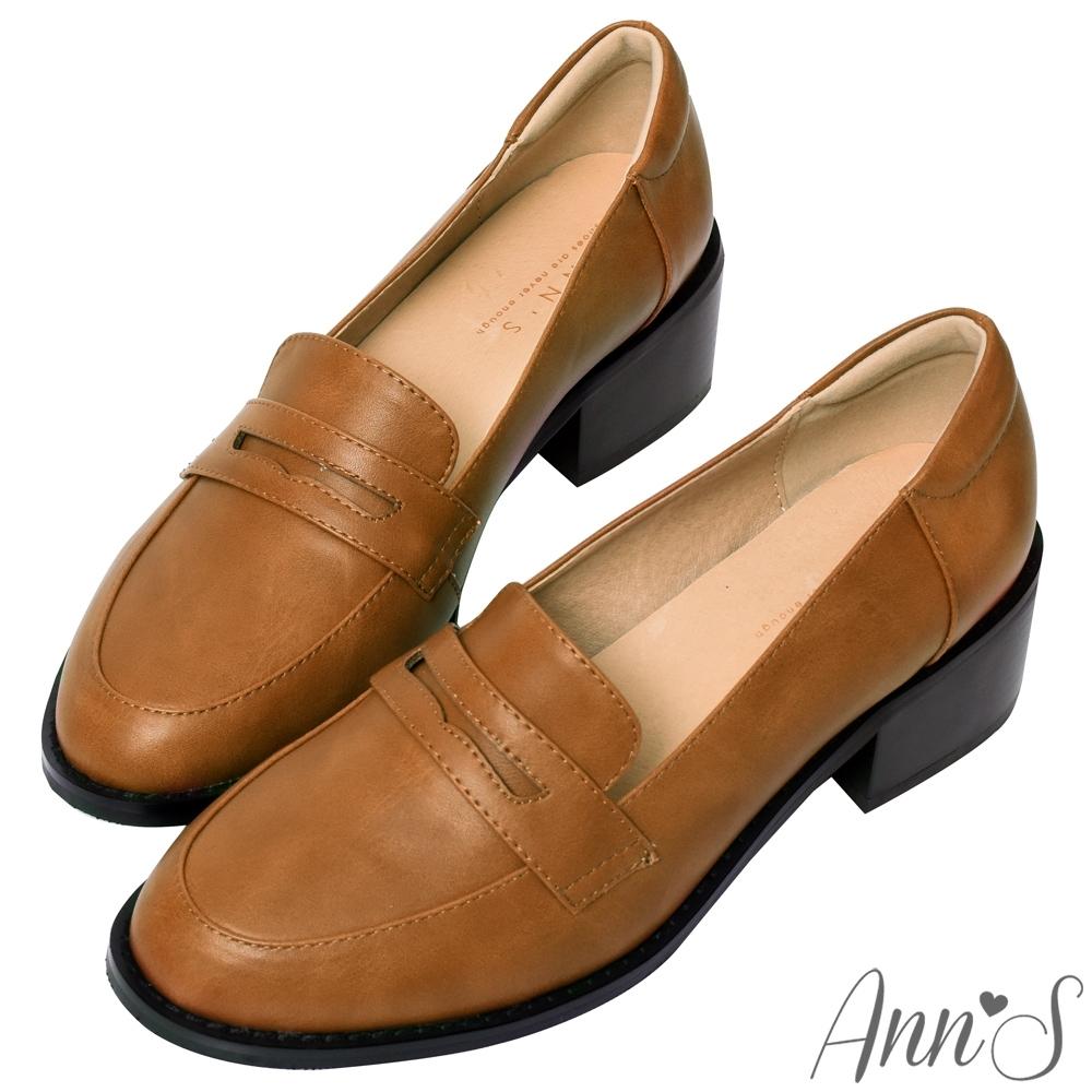 Ann'S學院提案-質感素面粗跟5cm紳士鞋-棕