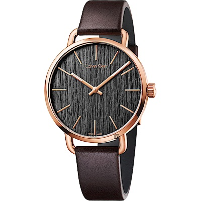 Calvin Klein CK Even 超然木質時尚女錶-黑x玫瑰金框/36mm