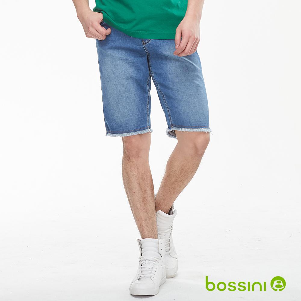 bossini男裝-針織牛仔短褲01淡藍