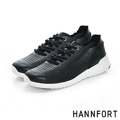 HANNFORT RS8真皮洞洞透氣休閒鞋-質感灰