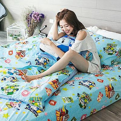 戀家小舖 / 雙人加大床包被套組  波力救援小英雄-藍  高密度磨毛布  台灣製