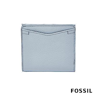 FOSSIL Caroline 輕甜玩美RFID真皮短夾-粉藍色