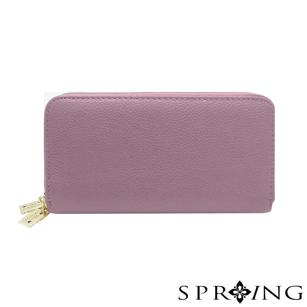 SPRING-MINI聯名-雙層真皮長夾-花海紫