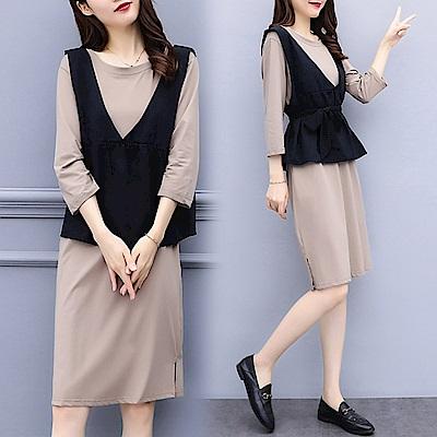 素色洋裝搭黑色收腰背心裙套裝XL~5XL-KVOLL