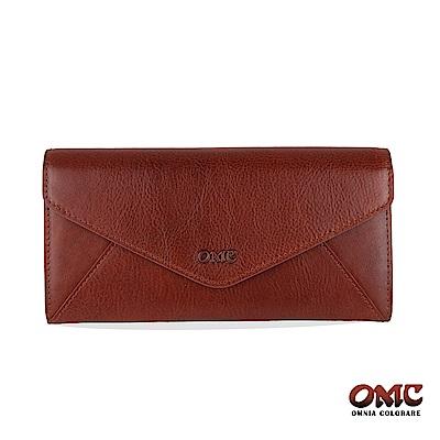OMC 進口牛皮-信封型16卡雙格層後拉鏈袋長夾-咖啡色