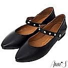 Ann'S神級多穿5way瑪莉珍鉚釘真皮平底鞋-黑