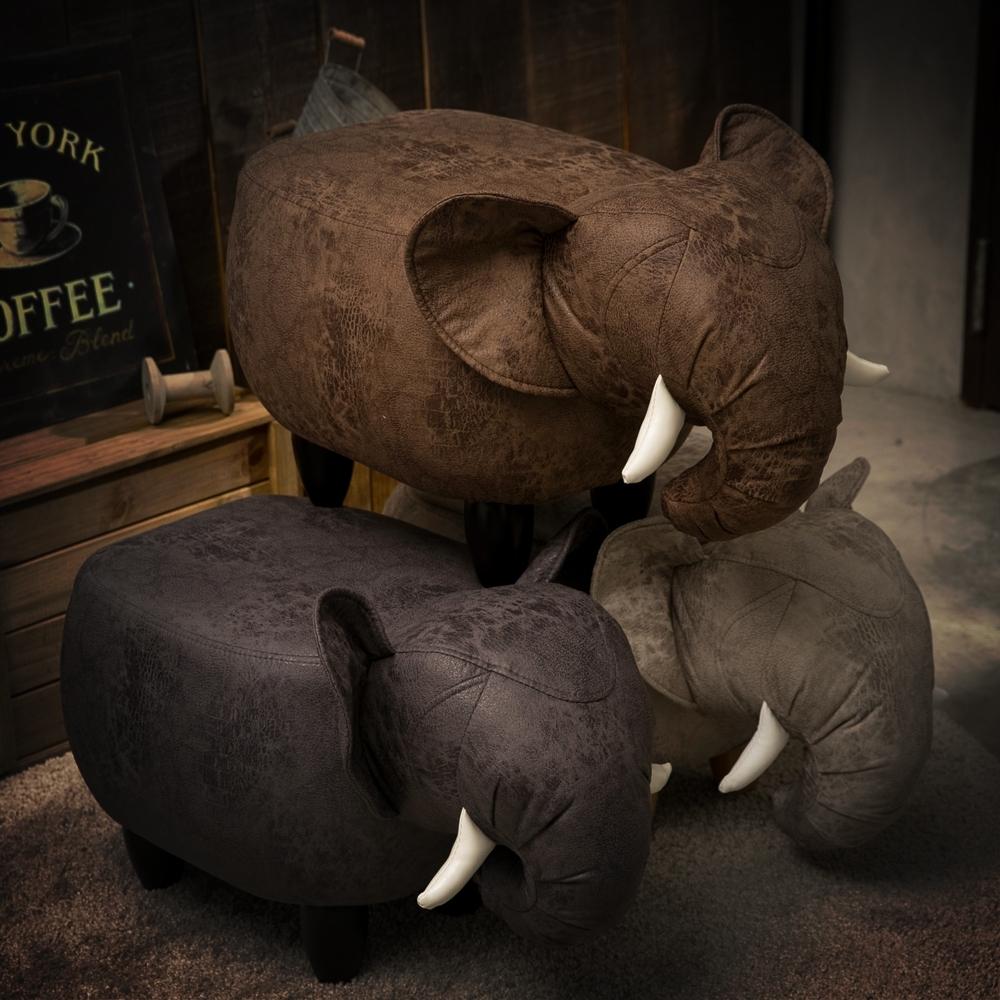 【日居良品】工業風超萌療癒-動物系列椅凳穿鞋凳-大象/水牛