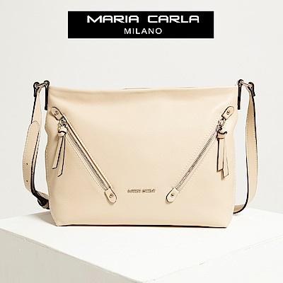 【Maria Carla】牙色_雙斜角拉鏈鏈式側背包(小款)_都會生活_頭層牛皮