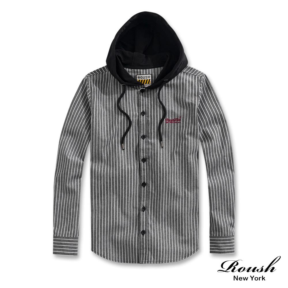 Roush 連帽工裝直條紋襯衫(2色)