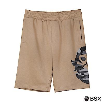 BSX 男裝VON品牌印花棉質短褲-05 灰褐