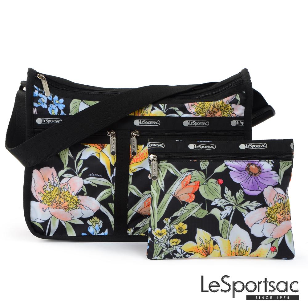 LeSportsac - Standard雙口袋A4大書包-附化妝包 (盛夏/黑)