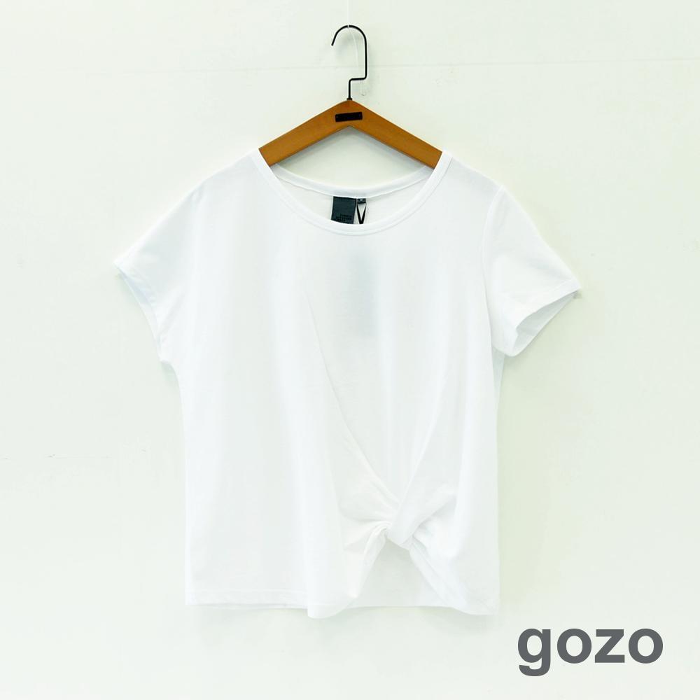 gozo 扭結造型下擺繡線燈泡印花上衣(二色)