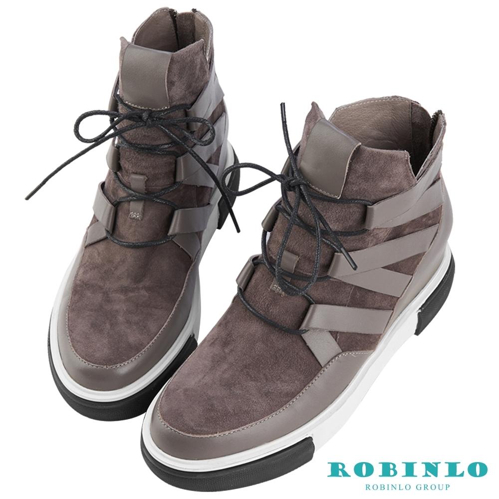 Robinlo 率性綁帶異材質真皮短靴 灰色