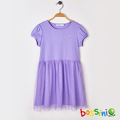 bossini女童-拼接網紗連身洋裝01淺紫